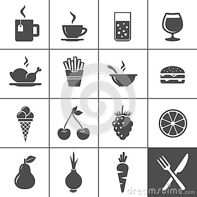 Food and drinks icon set. Simplus series