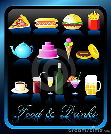 Free Food & Drinks Icons - Vector/Eps8 Stock Photos - 1360803