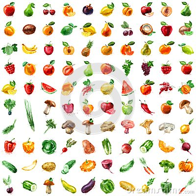 Free Food. Fruit And Vegetables Icon Set Royalty Free Stock Image - 48381906
