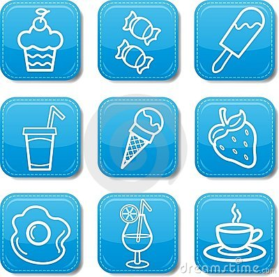 Food icon blue set