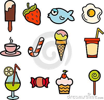 Food icon color set