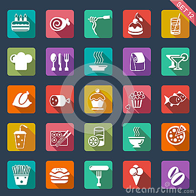 Free Food Icons- Flat Design Royalty Free Stock Image - 33357726