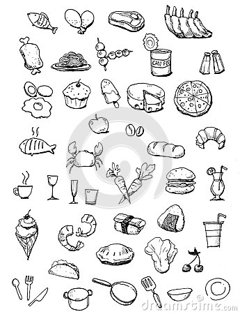 Free Food Icons Hand Drawn Illustration Stock Photography - 30280632