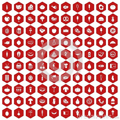 100 food icons hexagon red Vector Illustration