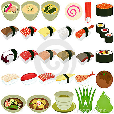 Free Food Icons: Japanese Cuisine - Sushi, Soup Royalty Free Stock Photography - 22326587