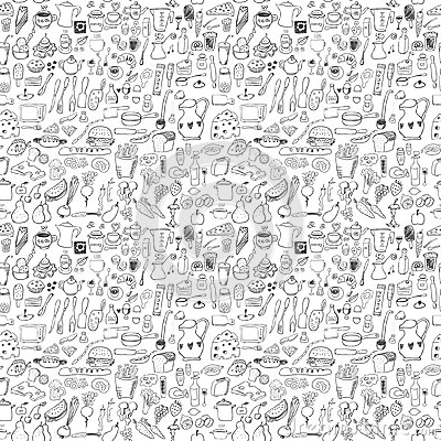 Free Food Icons Seamless Pattern Royalty Free Stock Photo - 34116885