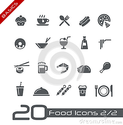 Free Food Icons - Set 2 Of 2 // Basics Royalty Free Stock Photo - 25188225