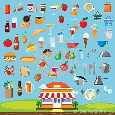 Free Food Icons Set Flat Design Royalty Free Stock Photo - 57001005