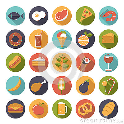 Free Food Icons Vector Set Stock Images - 48099214