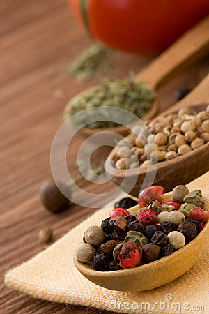 Food ingredient and spices on wood