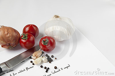 Food ingredients, knife and recipe