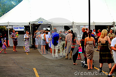 Food line at greek fest Editorial Image