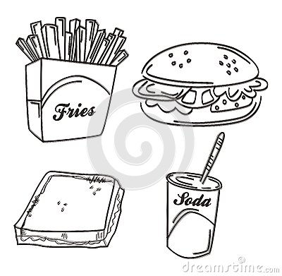 Food meal hand draw