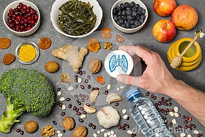 Food products useful for lungs Stock Photo