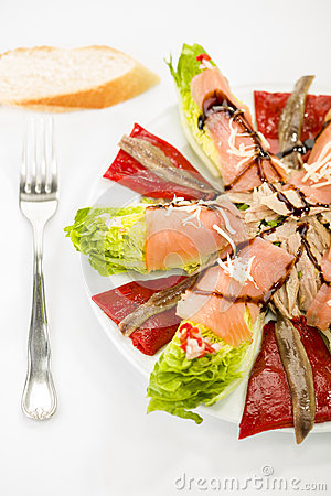 Food salmon anchovy salad