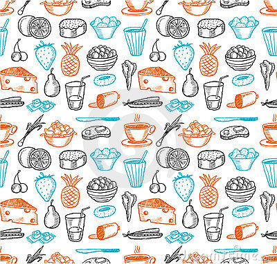 Free Food Seamless Doodles Pattern Royalty Free Stock Images - 14740709