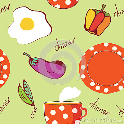 Food seamless pattern with egg, plate, tea