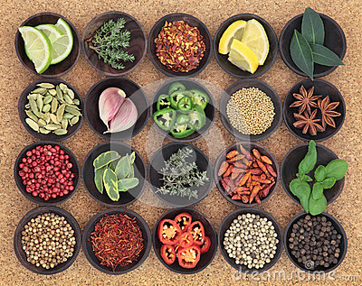 Food Seasoning Sampler Stock Photo