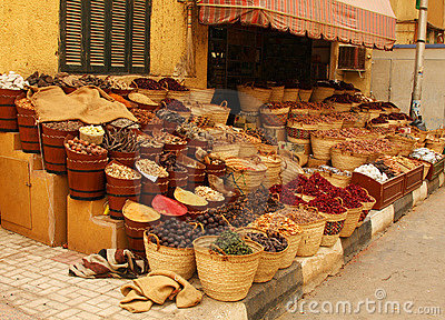 Food and spices for sale in a small shop