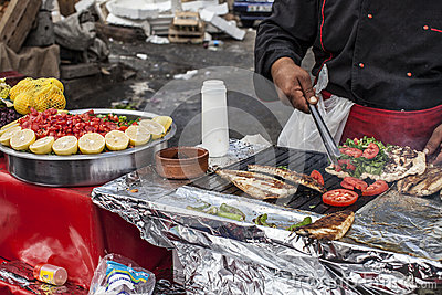 Food stand with fish sandwich