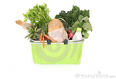 Food staples in shopping bag