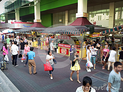 Food street in Chinatown, Singapore Editorial Image