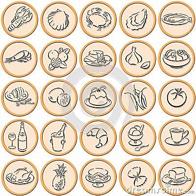 Food symbols shadowed