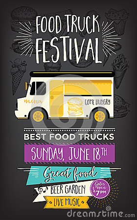 Free Food Truck Party Invitation. Food Menu Template Design. Food Fly Royalty Free Stock Photo - 73292825