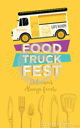 Free Food Truck Party Invitation. Food Menu Template Design. Food Fly Stock Image - 74146531