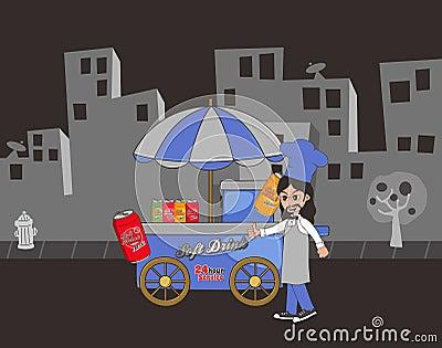 Food vendor cart Vector Illustration