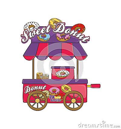 Food vendor cart theme Vector Illustration