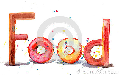 Food, watercolor illustration
