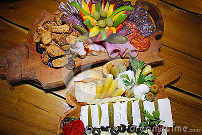 Food on Wooden Plate