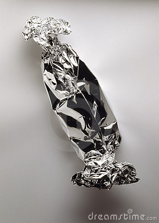 Food wrapped in aluminium foil before cooking