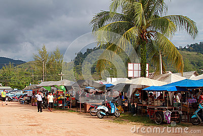 Foodmarket in Khao Lak, Thailand Editorial Photography