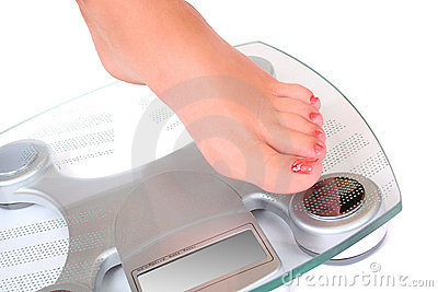 Foot on a bathroom scale