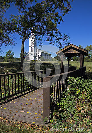 Foot Bridge and White Church