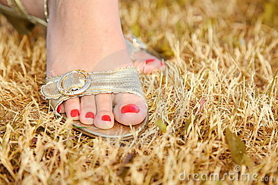 Foot on the dry grass