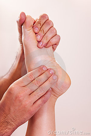 Foot massage close-up