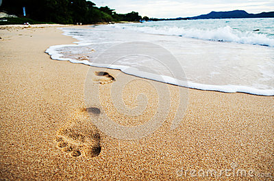 Foot print on the beach