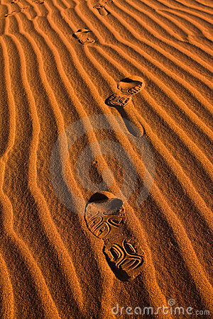 Foot print in Sahara Desert