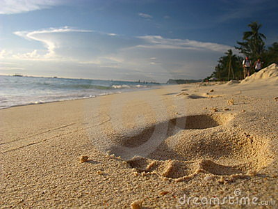 Foot Print on Striking Tropical Sand Beach