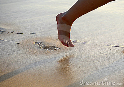Foot Prints on Beach