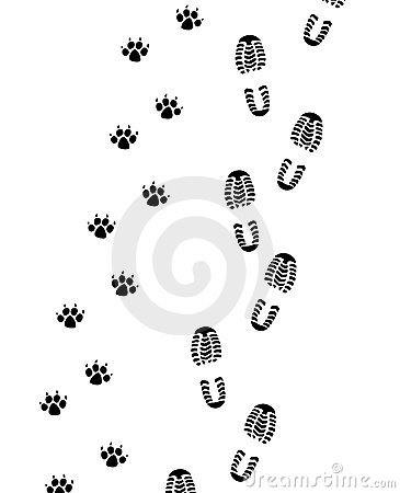 Foot prints of man and dog