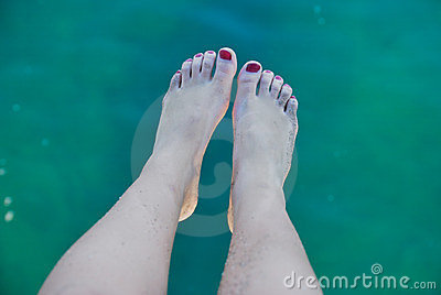 Foot on sea