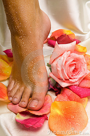 Foot on the silk cloth with rose and rose-