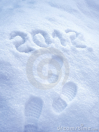 Foot step print in snow - New Year 2012