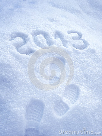 Foot step print in snow - New Year 2013