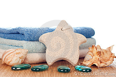 Foot stone and towels
