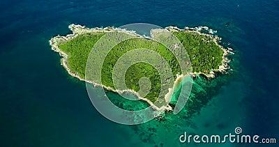 Footage Aerial view Love Island,Heart Island,Koh Keaw, Buddha Island of Phuket Thailand. stock footage